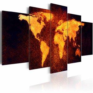 Schilderij - Wereldkaart - Hete lava, Zwart/Bruin, 5luik