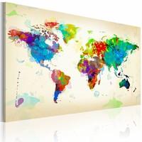 Schilderij - Wereldkaart - Kleuren van de Wereld, Multi-gekleurd, wanddecoratie , premium print op canvas