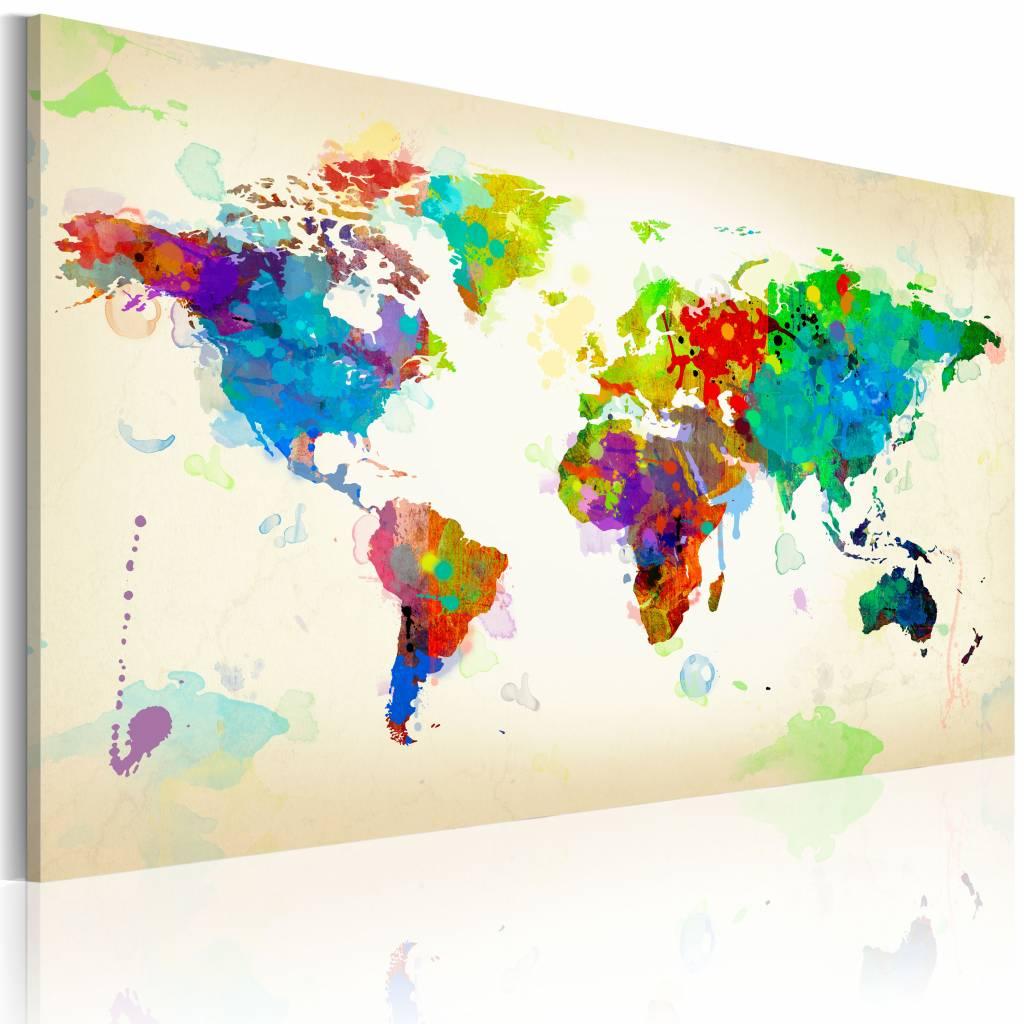 Schilderij - Wereldkaart - Kleuren van de Wereld, Multi-gekleurd, wanddecoratie , premium print op c