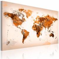 Schilderij - Wereldkaart - Desert storm, Bruin/Oranje, 1luik