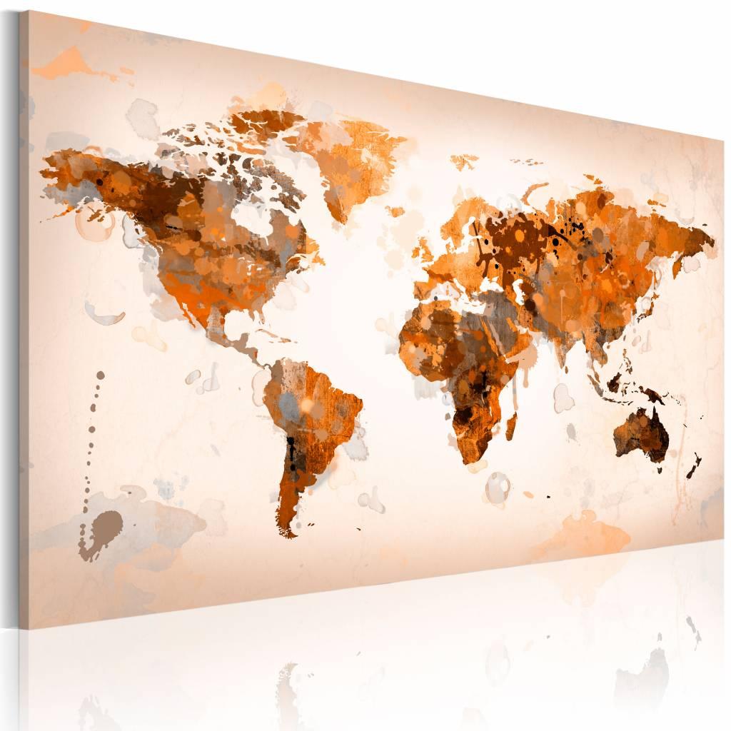 Schilderij - Wereldkaart - Desert storm , wanddecoratie , premium print op canvas