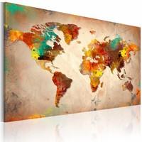 Schilderij - Geschilderde wereld, Multi-gekleurd, 2  Maten, 1luik