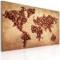 Schilderij - Wereldkaart - Wereldse Koffie, Bruin, 1luik , wanddecoratie , premium print op canvas