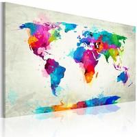 Schilderij - Map of the world - Explosie van kleuren, Multi-gekleurd, 2 Maten, 1luik