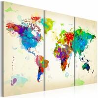 Schilderij - Wereldkaart - Kleuren van de Wereld II, Multi-gekleurd, 3luik , wanddecoratie , premium print op canvas
