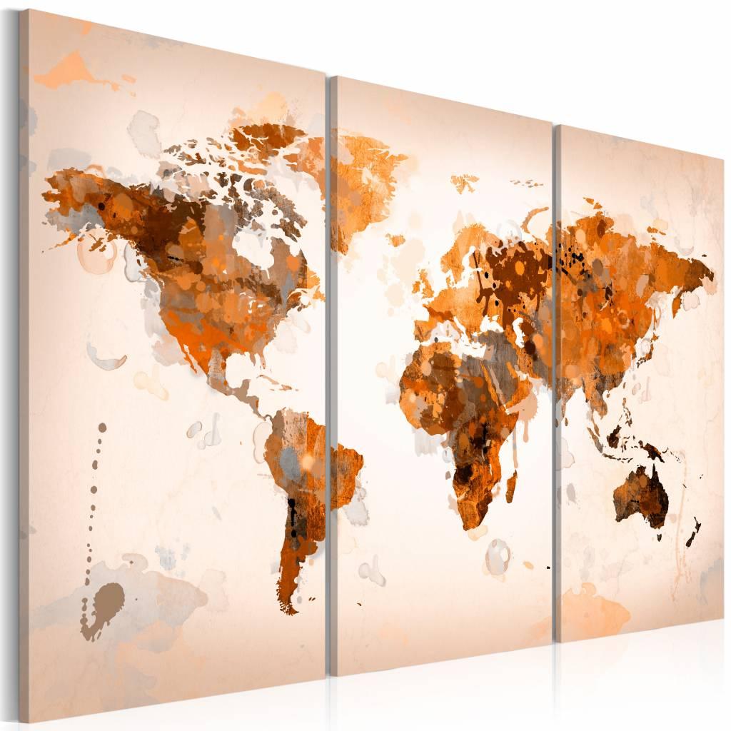 Schilderij - Wereldkaart - Desert storm II, 3 luik , wanddecoratie , premium print op canvas