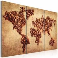 Schilderij - Wereldkaart - Wereldse Koffie II, 3luik