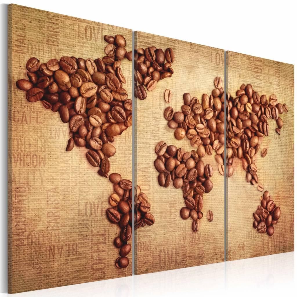 Schilderij - Wereldkaart - Wereldse Koffie II, 3luik , wanddecoratie , premium print op canvas