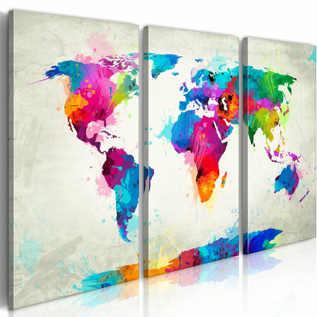 Schilderij - Wereldkaart - Kleuren Explosie II, 3luik , multikleur , wanddecoratie , premium print o