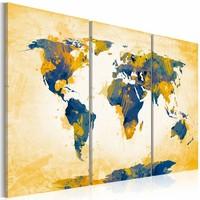 Schilderij - Wereldkaart - Wereld in Geel en Blauw II, 3luik , wanddecoratie , premium print op canvas