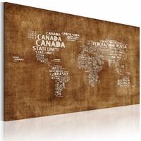 Schilderij - Wereldkaart - Verloren Kaart, Bruin , wanddecoratie , premium print op canvas