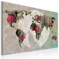 Schilderij - Wereldkaart - Volle maan
