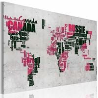 Schilderij - Kaart van de Wereld (Franse taal), Zwart/Roze, 2 Maten, 1luik
