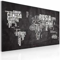 Schilderij - Wereldkaart - In het Spaans, Zwart-Wit, 1luik