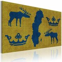 Canvas Schilderij - Kaart van de Wereld: trui uit Zweden, Blauw/Geel, 2 Maten, 1luik