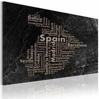 Schilderij - Kaart van Spanje, Zwart, 2 Maten, 1luik
