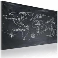 Schilderij - Wereldkaart - Aardrijkskundeles (Italiaans), Krijtbord Look, Zwart-Wit, 1luik