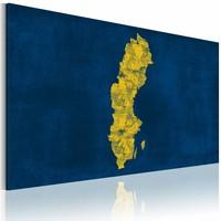 Schilderij - Geschilderd kaart van Zweden, Geel/ Blauw