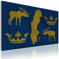 Canvas Schilderij - Het Koninkrijk Zweden, Geel/Blauw, 2 Maten, 1luik