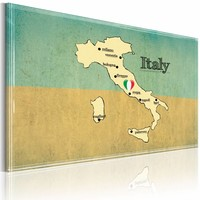 Schilderij - Hart van Italië, Blauw/Beige, 2 Maten, 1luik