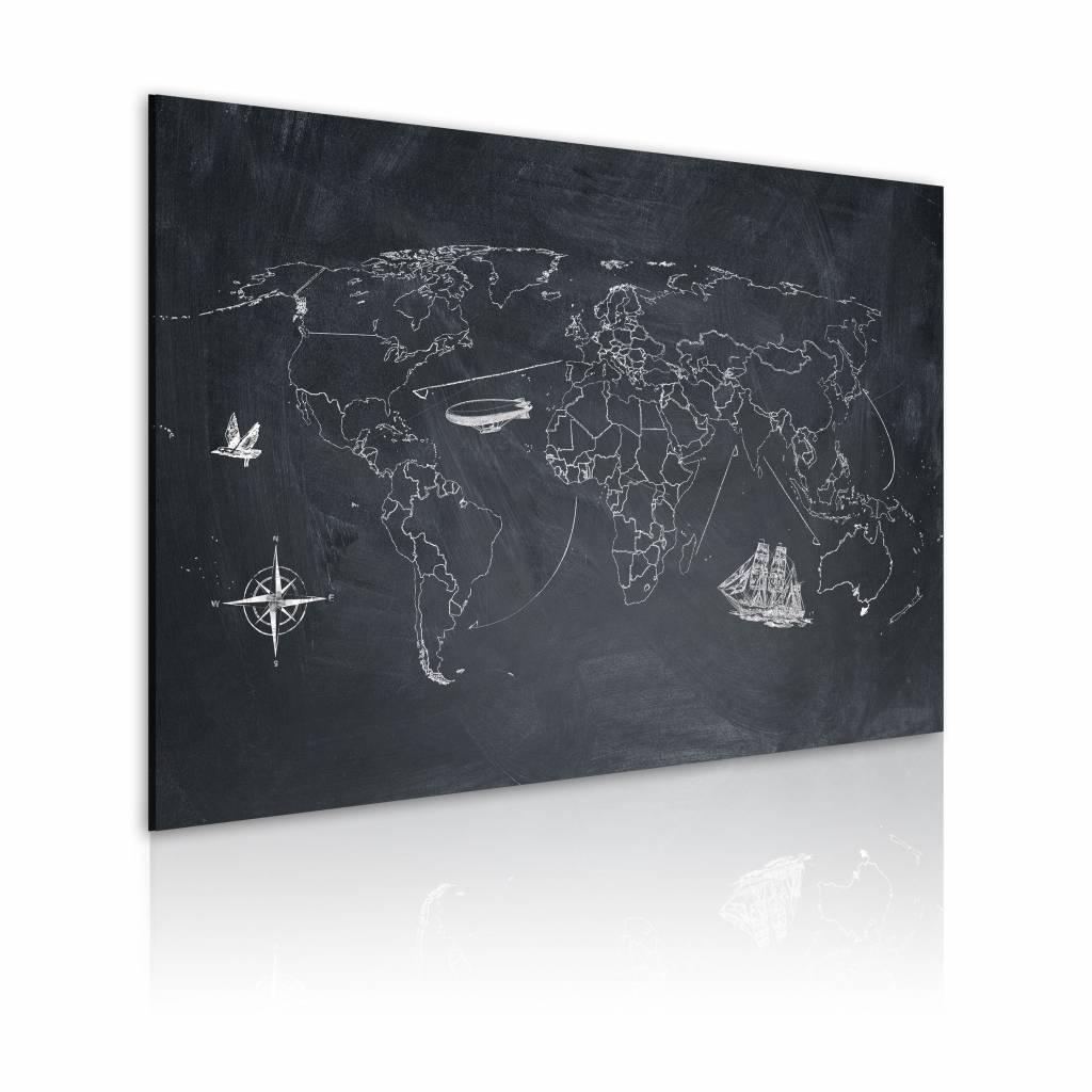 Schilderij - Wereldkaart - Reis rond de Wereld, Krijtbord Look, Zwart-Wit , wanddecoratie , premium