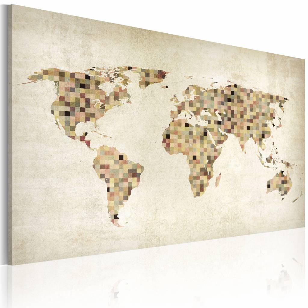 Schilderij - Wereldkaart - Beige tinten van de Wereld , wanddecoratie , premium print op canvas