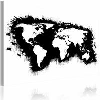 Schilderij - Wereldkaart -  Monochromatisch, Zwart-Wit , premium print op canvas