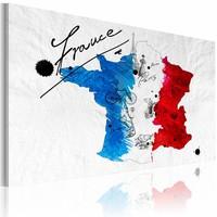 Schilderij - Welkom in Frankrijk!, Multi-gekleurd, 2 Maten, 1luik