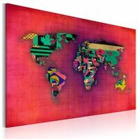 Schilderij - Wereldkaart - De Wereld is van Mij, Multi-gekleurd, 1luik