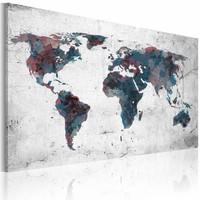 Schilderij -  Wereldkaart - Continenten , premium print op canvas
