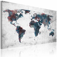 Schilderij -  Wereldkaart - Continenten