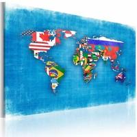 Schilderij - Wereldkaart- Vlaggen van de Wereld , multikleur , premium print op canvas