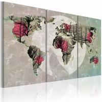 Schilderij - Wereldkaart - Volle maan II, 3Luik , multikleur , premium print op canvas