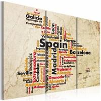 Schilderij - Tekst kaart: Spaanse steden, Beige, 2 Maten, 3luik