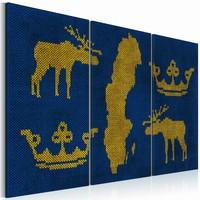 Schilderij - Het Koninkrijk Zweden, Blauw/Geel, 2 Maten, 3Luik
