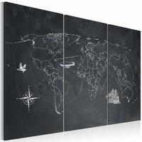 Schilderij - Wereldkaart - Reis rond de Wereld, Krijtbord Look, Zwart-Wit, 3luik
