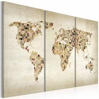 Schilderij - Wereldkaart - Beige tinten van de Wereld, 3luik , premium print op canvas