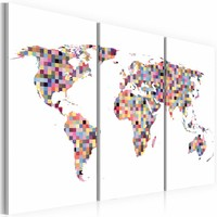 Schilderij - Wereldkaart- Pixels, 3luik , multikleur , premium print op canvas