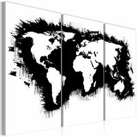 Schilderij - Wereldkaart - Monochromatisch kaart van de Wereld, Zwart-Wit, 3luik , premium print op canvas