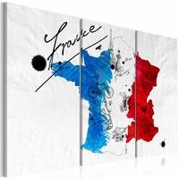 Schilderij - Welkom in Frankrijk!, Blauw, Rood, Wit, 2 Maten, 3luik