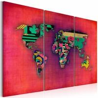 Schilderij - Wereldkaart - De Wereld is van Mij ,3luik , rood , premium print op canvas
