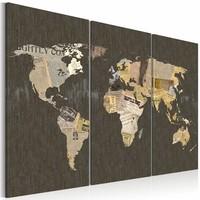 Schilderij - Wereldkaart - News of the World, 3luik , premium print op canvas
