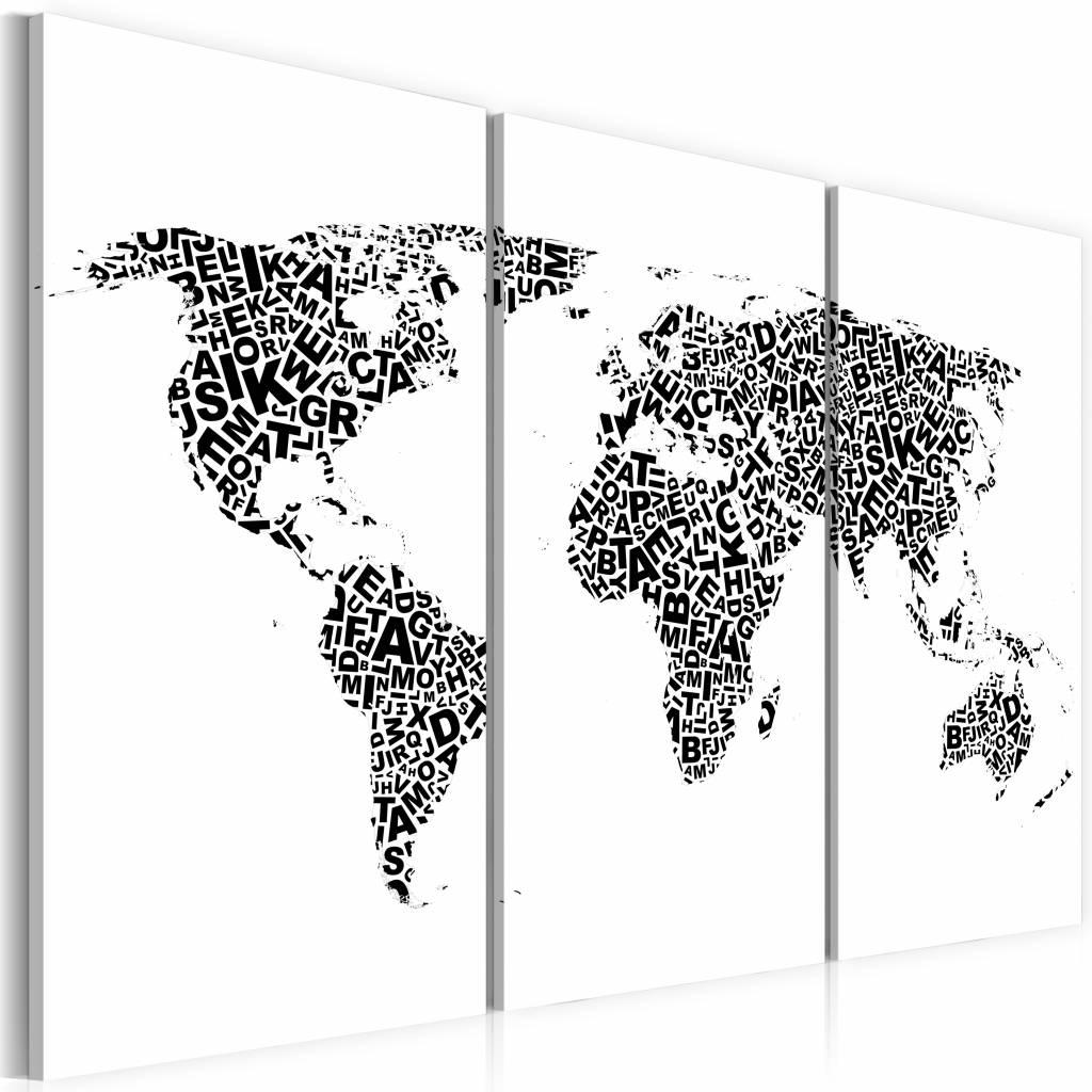 Schilderij - Wereldkaart - Alfabet, Zwart-Wit, 3luik , premium print op canvas