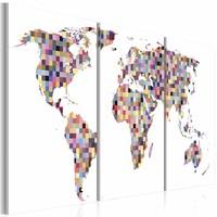 Schilderij - Wereldkaart - Digitale wereld, 3luik , multikleur , premium print op canvas