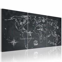Schilderij - Wereldkaart - Globetrotter, Krijtbord Look, Zwart-Wit, 3luik , premium print op canvas