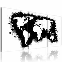 Schilderij - Wereldkaart - De Wereld in Zwart-Wit, 3luik , premium print op canvas