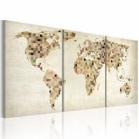 Schilderij - Wereldkaart - Pleinen, Beige, 3luik , premium print op canvas