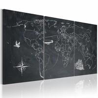 Schilderij - Wereldkaart - In de voetsporen van Columbus, Krijtbord Look, Zwart-Wit, 3luik