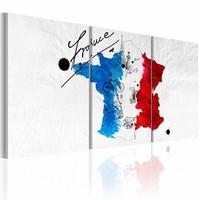 Schilderij - Kaart van Frankrijk, Multi-gekleurd, 2 Maten, 3luik