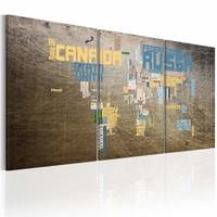 Schilderij - Kaart van de Wereld - industriële stijl, Bruin, 2 Maten, 3luik